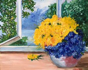 Yellow and Blue flowers - Alina Morozova
