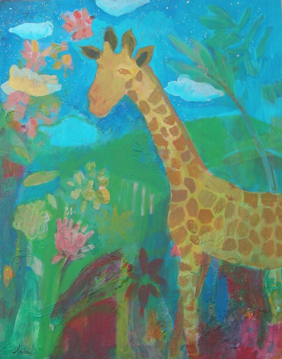 Giraffe in the moonlight - iria