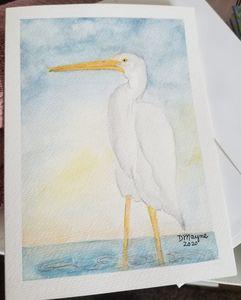 """White Heron"" Blank Note Card"