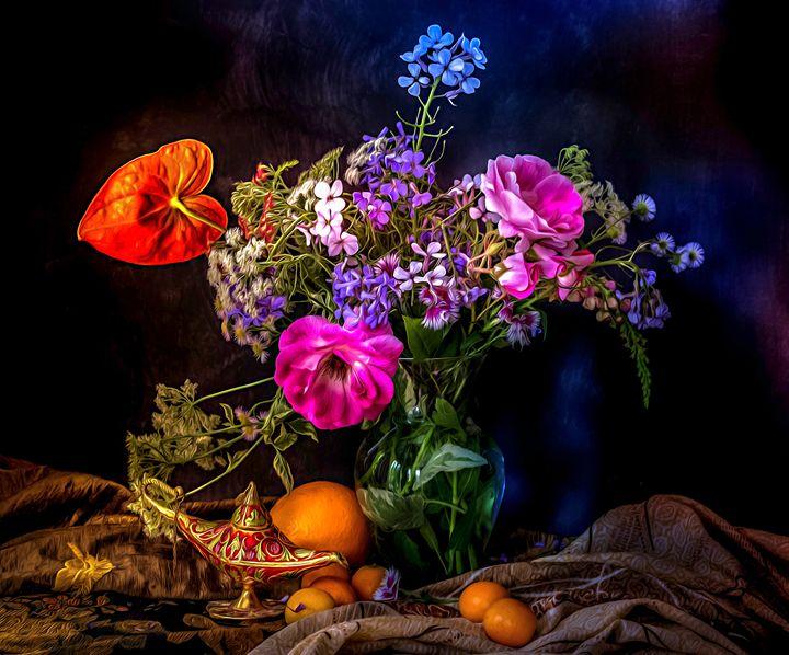 Still life-flower and lardin lamp - Earthwormism  studio