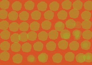 Green circles on red background - SHAUNS ART