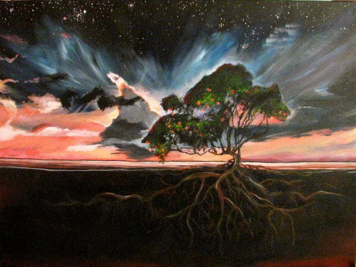 Peach Tree Rooted in Sunset - Lindsey Clegg-Norine Acrylic Originals