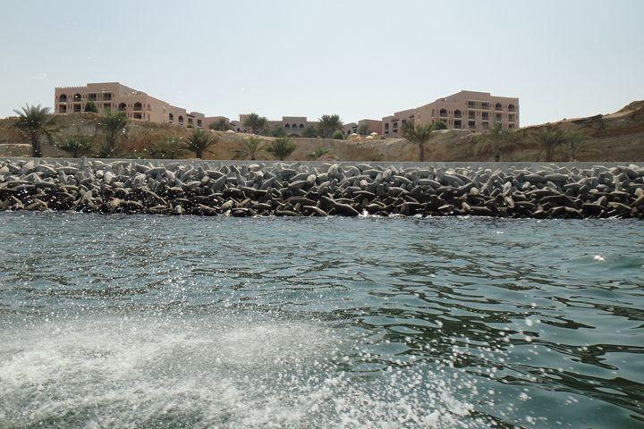 View from our speedboat Qantab Beach - Art Arcade