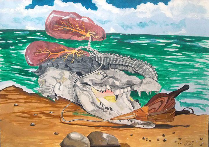 Crocodile emphisemma - Lazaro Hurtado Art
