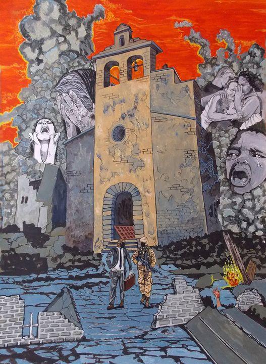 Faces of war - Lazaro Hurtado Art