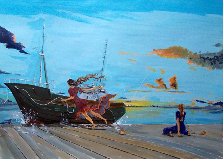 They...in the harbours - Lazaro Hurtado Art