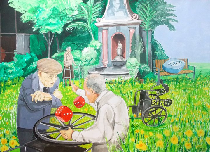 Gambling Grandma - Lazaro Hurtado Art