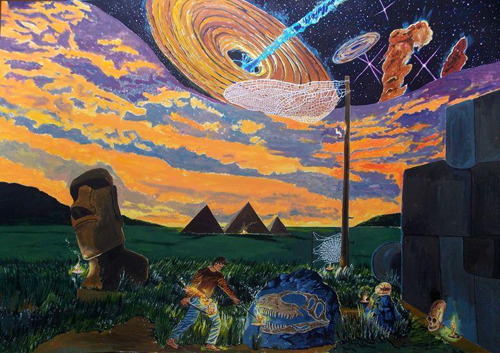 A Walk in the Night of Times - Lazaro Hurtado Art