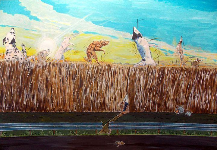 Going away with the dogs - Lazaro Hurtado Art