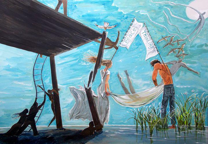 Peace and Thinking - Lazaro Hurtado Art