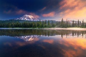 Mt Rainier sunrise with reflections