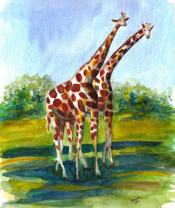 Twin Giraffes - BeymArt