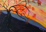 orange moon with tree