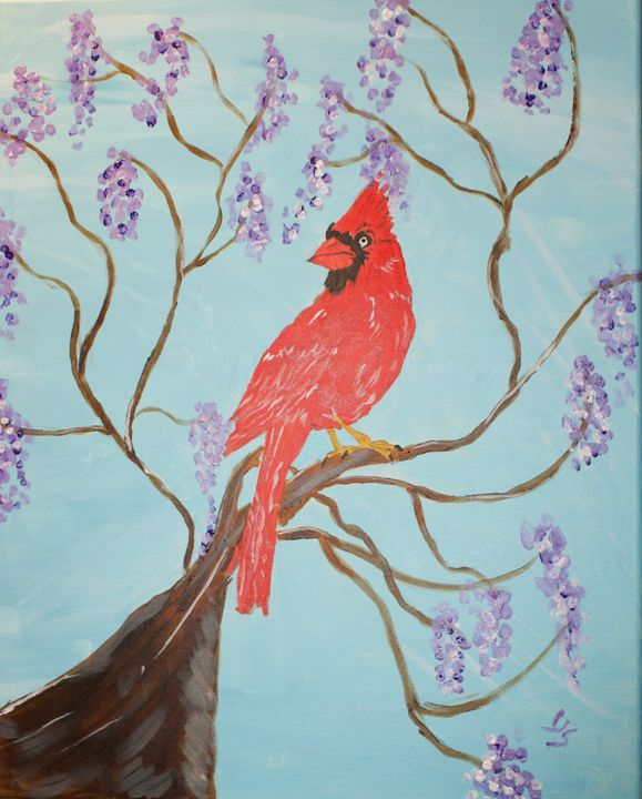 Red Cardinal with Purple Flowers - Art By Yvonne Sewell