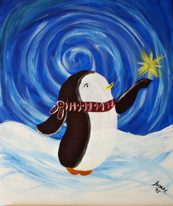 Christmas Penguin - Art By Yvonne Sewell