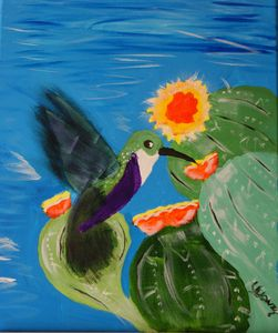 Hummingbird with Cactus - Art By Yvonne Sewell