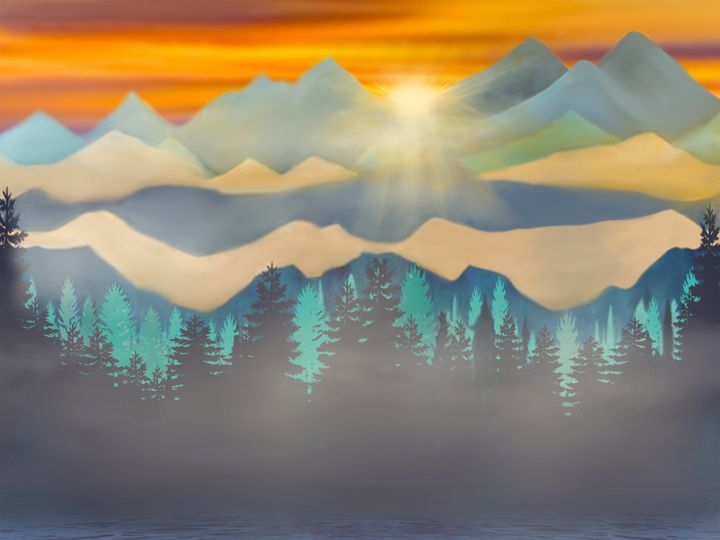 Mountain Sunset Painting - Gorgeous - Wall Art By AceMe