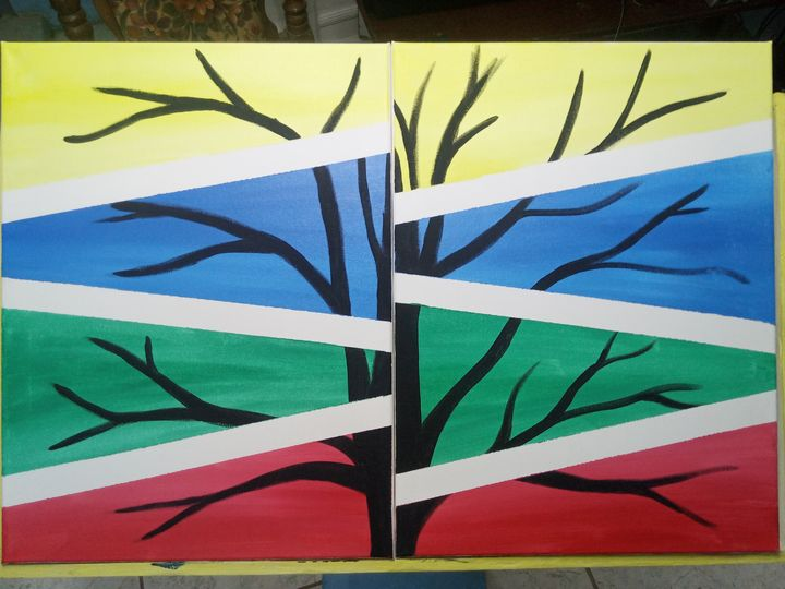 Black in Coloured - Acrylic Paintings