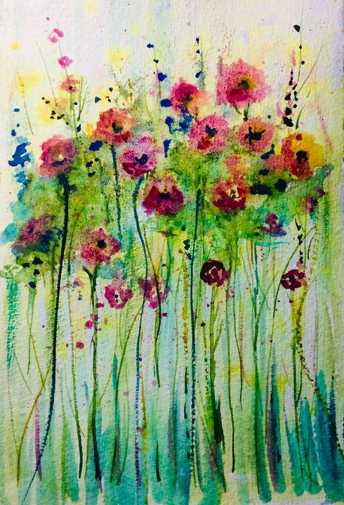 Posies in a Row - Art by Karen Dale
