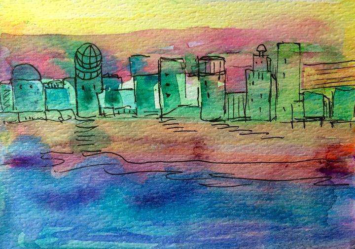 Green Dream Cityscape - Art by Karen Dale