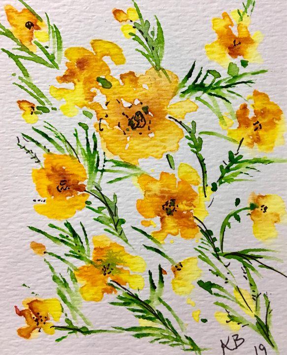 Marigold Floral - Art by Karen Dale