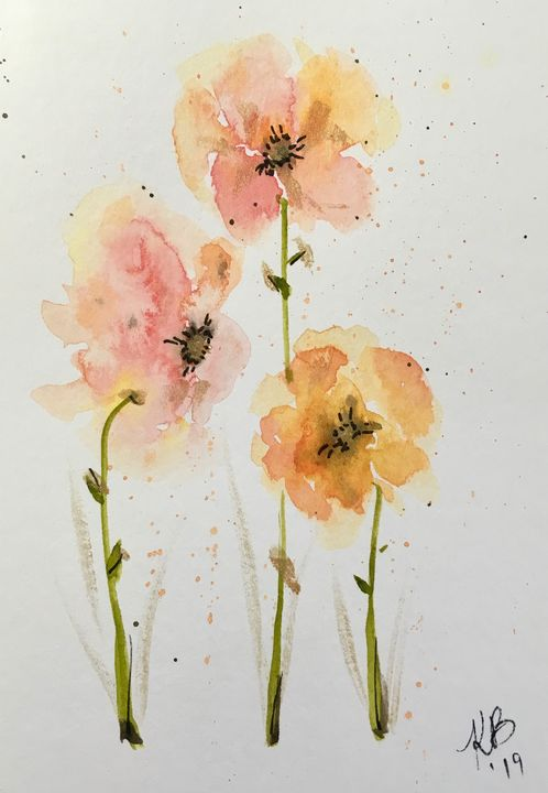Peachy Pansies - Art by Karen Dale