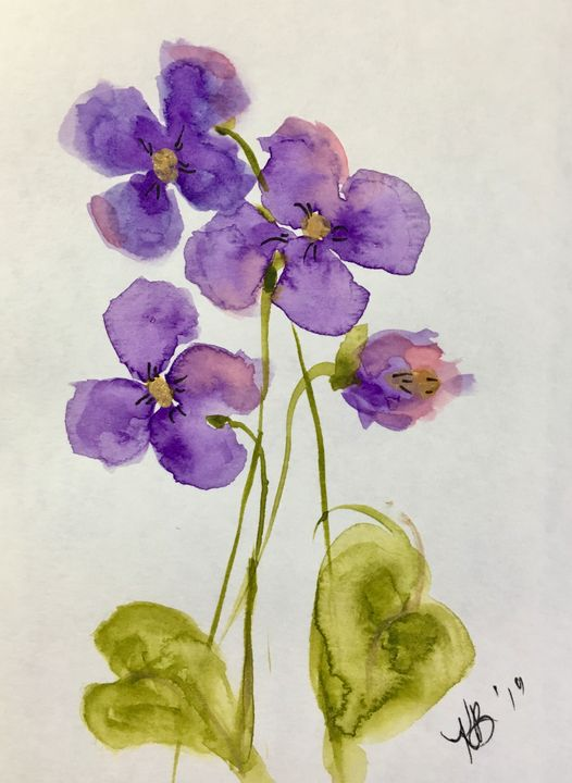 Violets from the lawn - Art by Karen Dale