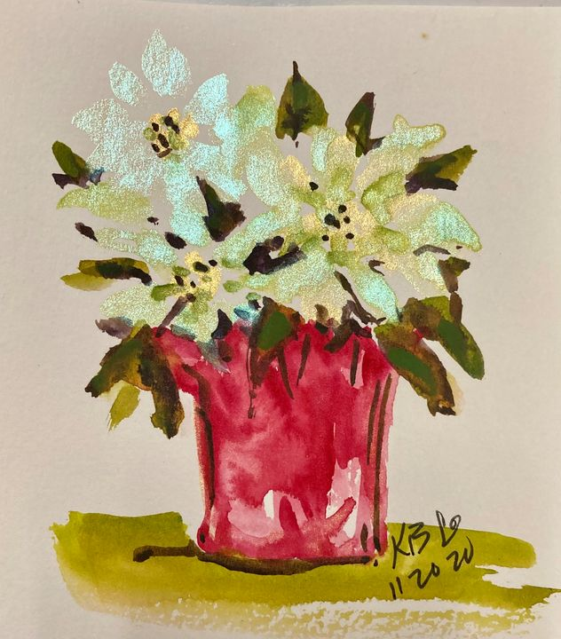 White Poinsettia in Red Wrap - Art by Karen Dale