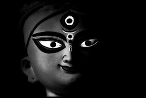 Ma Durga in black and white