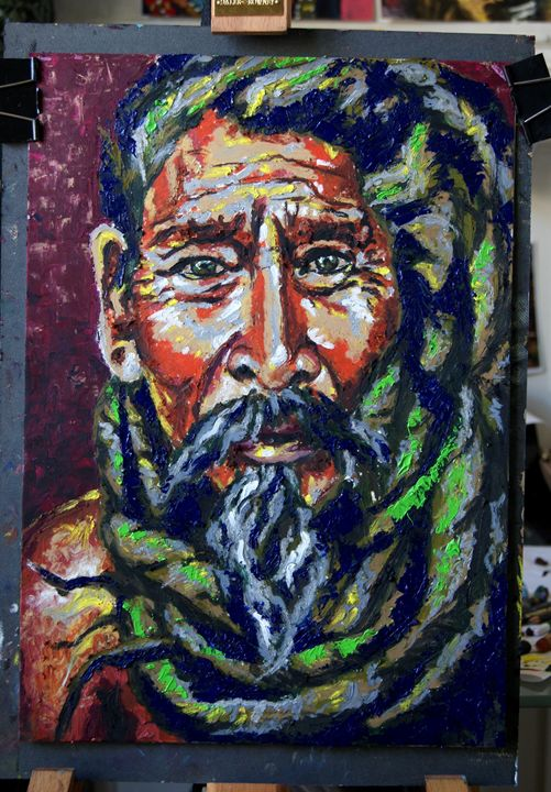 Man in oil and oil pastel - Colors on Canvas