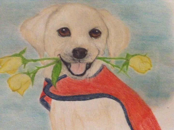 Golden Retriever Puppy with flower - Personalized pet art
