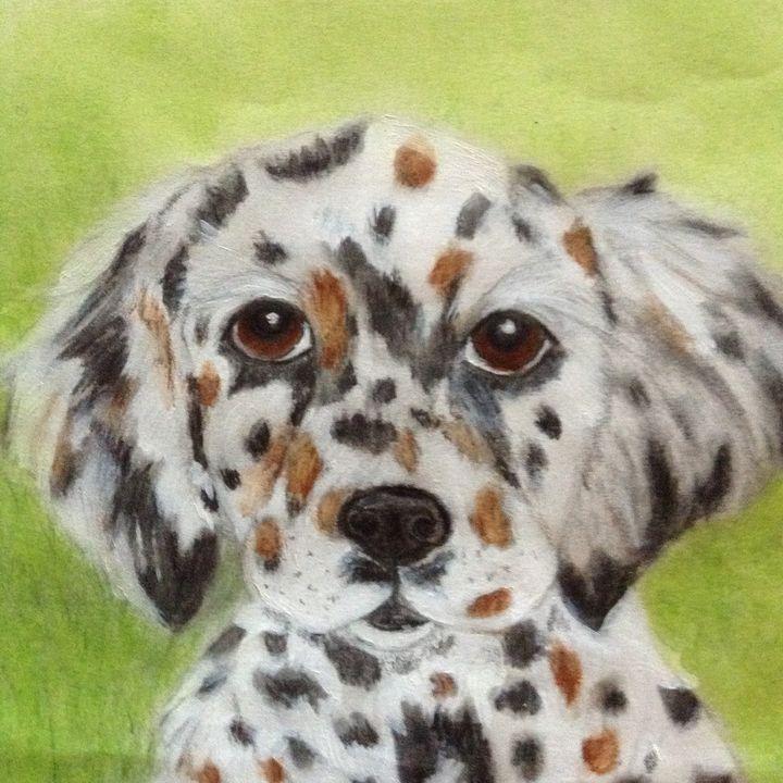 Adorable Austrailian Shpherd Puppy - Personalized pet art