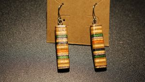 Recycled skateboard dangle earrings