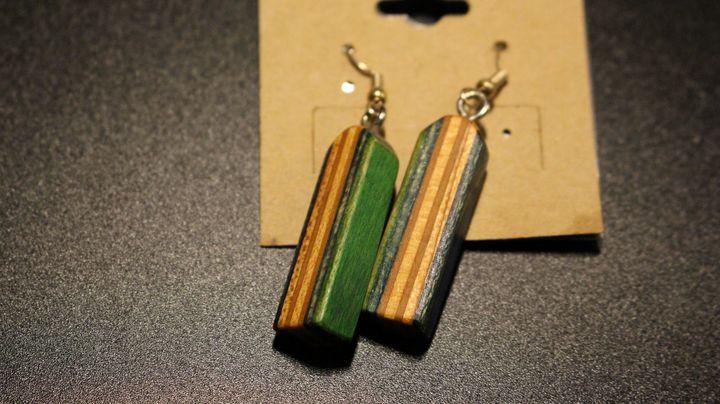 Recycled skateboard Dangle Earrings - Ingenuity Artworks