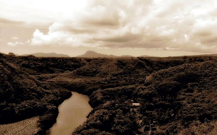River Through Hills - Amber's Amazing Art