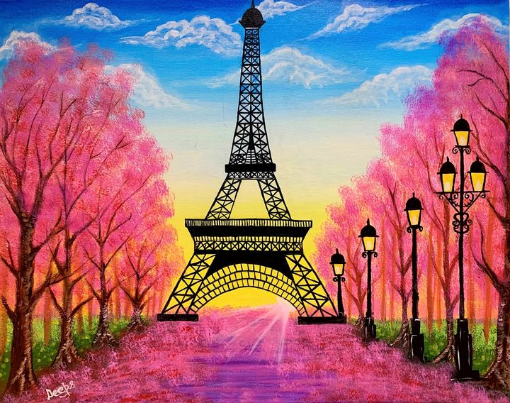 Blossom at the Eiffel Tower - D.S. Creations