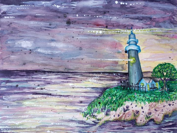 Light My Way, lighthouse seascape - Green River Gypsy Art