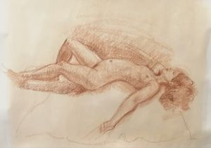 Young Woman Reclining.