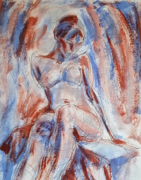 Female Figure In Cool Red And Blue. - Liam Ryan