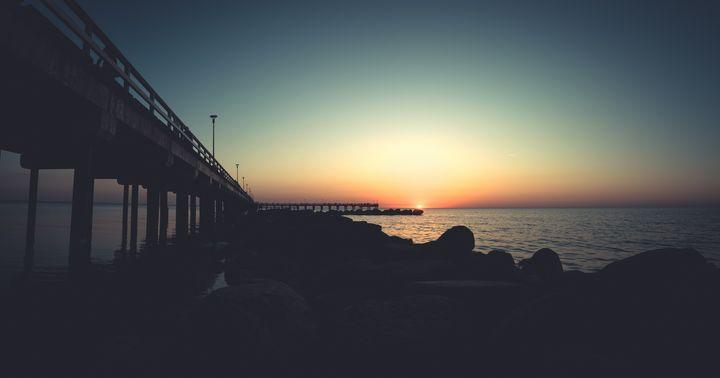 Palanga bridge, worm sunset - HideMyWall