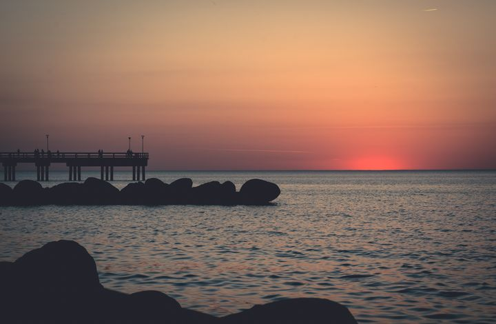 Palanga beach sunset with bridge - HideMyWall