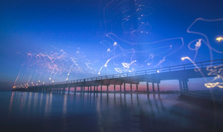Palanga beach bridge at night - HideMyWall