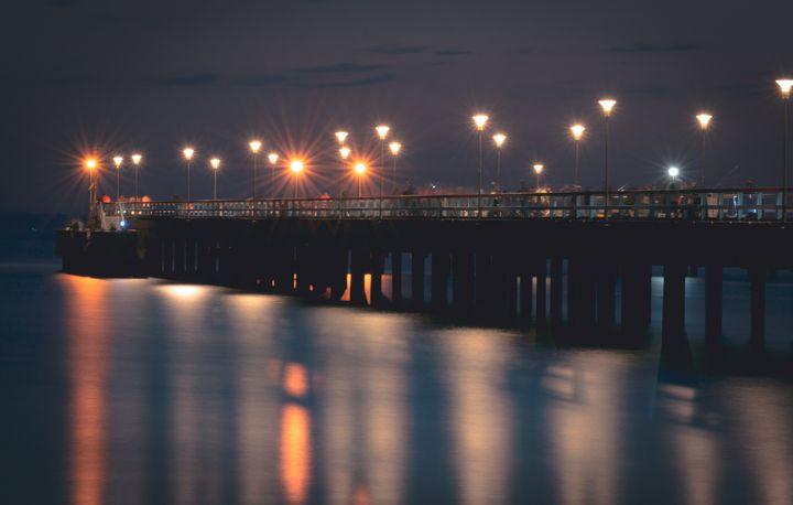 Palanga beach bridge at night - HideMyWall