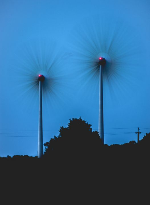 Wind turbines in late evening - HideMyWall
