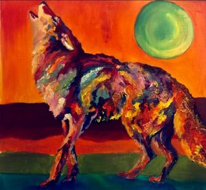 Oil wolf painting