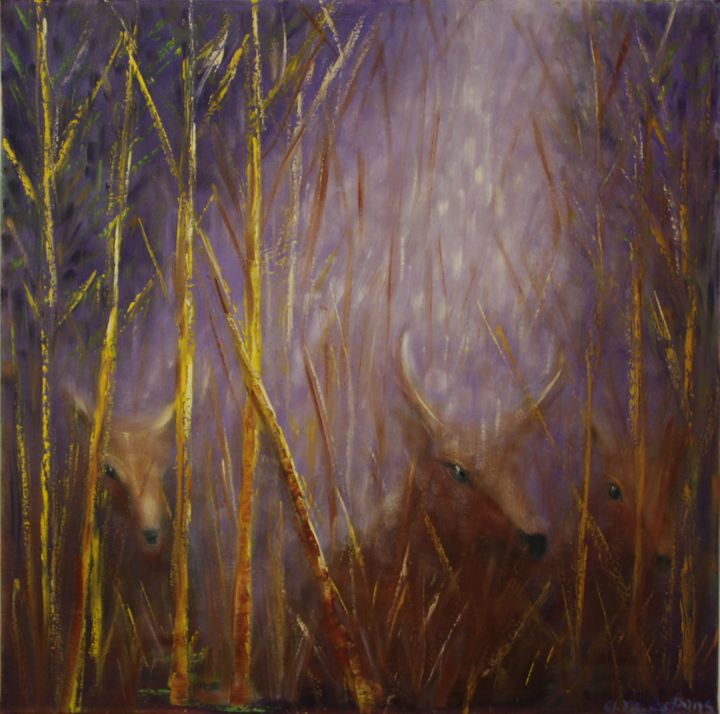 Deer Family Hiding - D. Michael Adams