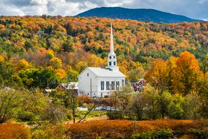 Stowe Community Church with Fall Col