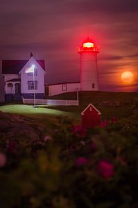 Full Moon Rising Behind Nubble Light