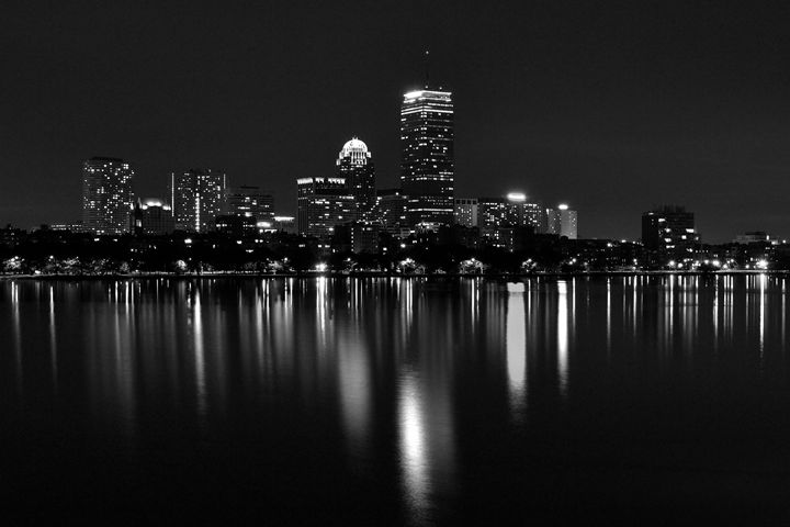 Boston Skyline @ Night - BW - Jatin Thakkar Photography