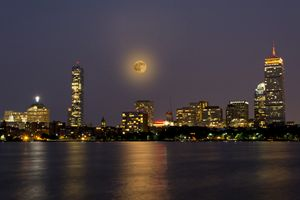 Boston Skyline with Supermoon 2013